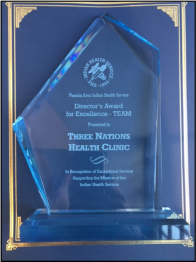 The RSTHC staff earned the Phoenix Area Indian Health Service Director's Award for Excellence in  the team category.