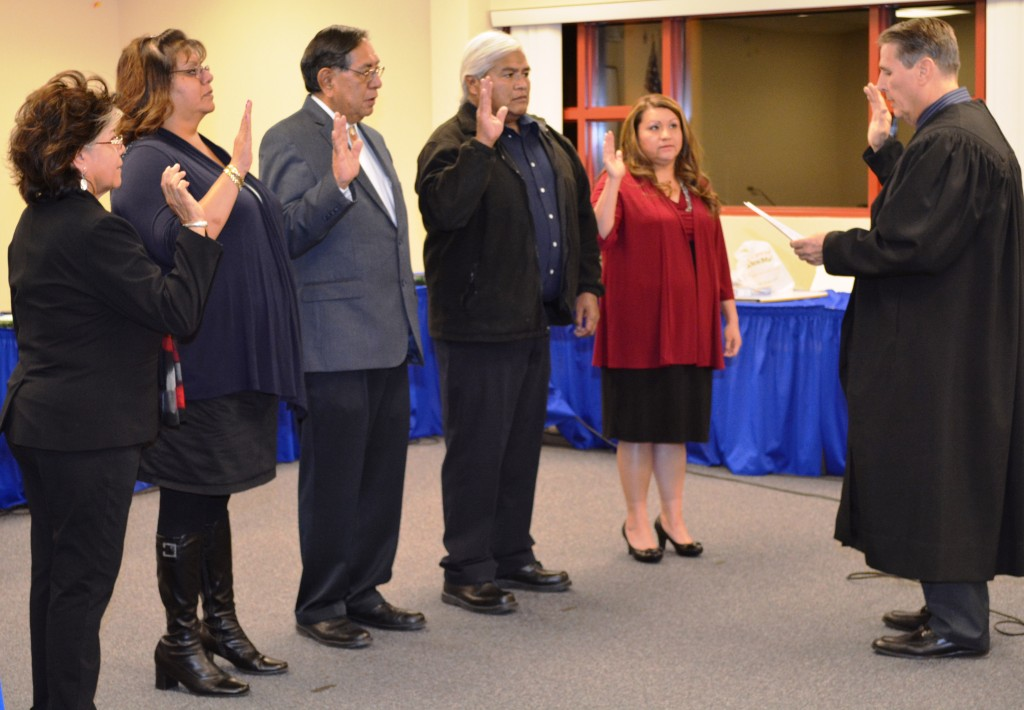 """Jacqueline Quoetone, Ruth Sampson Guerrero, Arlan D. Melendez, Daryl """"Doug"""" Gardipe, and Shawna Kirsten recently took an oath of office as leaders of the 41st Reno-Sparks Indian Colony Tribal Council. RSIC Tribal Judge Joseph J. Van Walraven swore the leadership into office."""