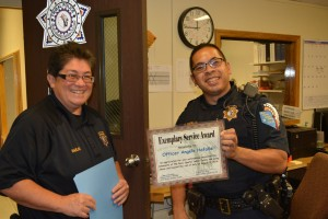 For his assistance in delivering a healthy baby boy to the RSIC community, Officer Hafalla was honored.